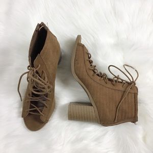 American Rag suede open toe lace up booties